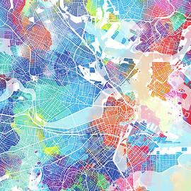 Bekim Art - boston map watercolor