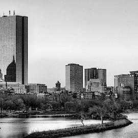 Boston Skyline Black And White by JC Findley