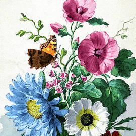 Bouquet Of Flowers With A Butterfly by Ruth Moratz