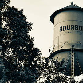 Bourbon Water Tower And Foliage - Sepia Panoramic Edition by Gregory Ballos
