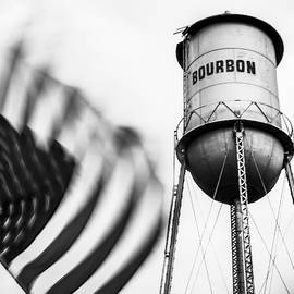Bourbon Water Tower Usa Vintage - 1x1 Monochrome by Gregory Ballos