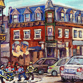 Boys Of St Dominique And Pine Avenue Hockey Art Montreal Plateau Winter Scenes C Spandau Quebec by Carole Spandau