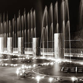 Branson Landing Fountains - Panoramic Classic Sepia Edition by Gregory Ballos