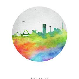 Aged Pixel - Brasilia Skyline Cityscape BRBR20