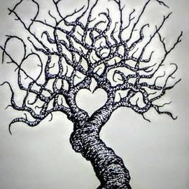 Breathe Love Tree - blk/wht by Aaron Bombalicki