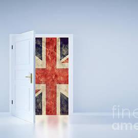 Brexit Concept. Uk Flag Behind The Exit Door by Michal Bednarek