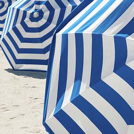 Bright Blue And White Striped Beach by Peskymonkey