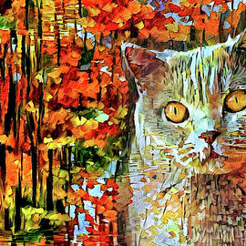 British Shorthair Cat in Autumn by Peggy Collins