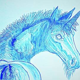 Brother Unicorn in Blue Larger Print sizes by Barbara Donovan