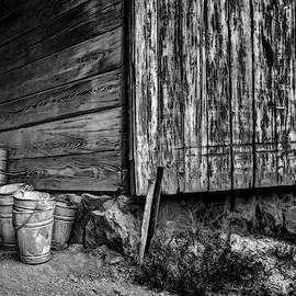 Buckets by the Barn - BW by Nikolyn McDonald