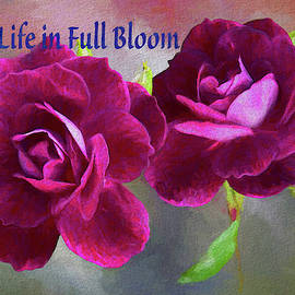 Burgundy Roses Abstract 3  Live Life in Full Bloom by Linda Brody