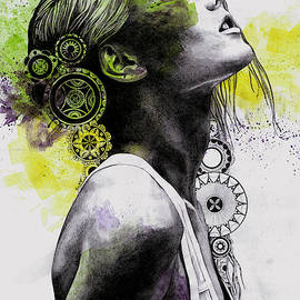 Burnt By The Sun - street art woman portrait with mandalas by Marco Paludet