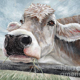 Buttercup Cow Painting by Annie Troe