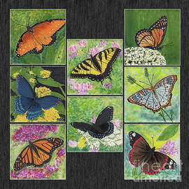 Butterflies Are Free Tile Paintings by Conni Schaftenaar