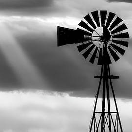 BW Windmill and Crepuscular Rays -01 by Rob Graham