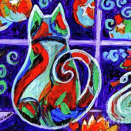 Genevieve Esson - Calico Cat In Purple Moonlight