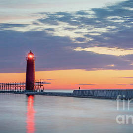 Calm Sunset at Grand Haven Lighthouses, Michigan by Liesl Walsh