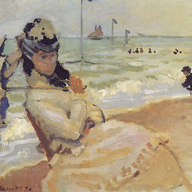 Claude Monet - Camille on the Beach at Trouville, 1870