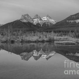 Canmore Alberta Glowing Mountain Peaks Black And White by Adam Jewell