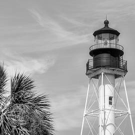 Cape San Blas Lighthouse Black And White by JC Findley