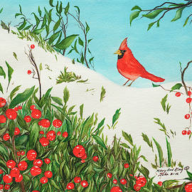 Cardinal and Holly by Mary Ann King