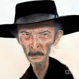 Caricature of Lee Van Cleef as Angel Eyes in The Good the Bad and the Ugly  by Jim Fitzpatrick
