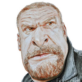 Caricature of Pro Wrestling Superstar Triple H by Jim Fitzpatrick