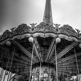Carousel By The Eiffel Tower - Mono by Georgia Fowler