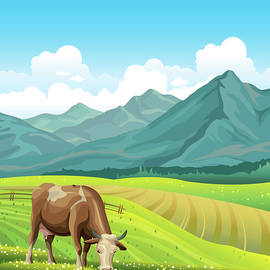Cartoon cow and rural meadow with green grass on the mountain background. Natural landscape. - Vecto by Caids Ados