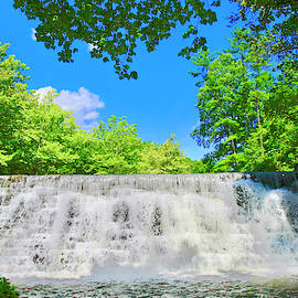 Cascading Waterfalls Over Weir Dam Blue Ridge Parkway Virginia by James B Roney