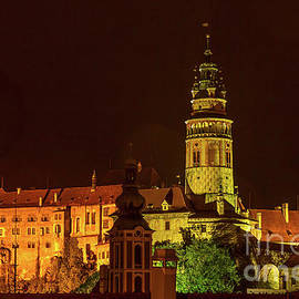 Castle Tower In Cesky Krumlov At Night by Les Palenik