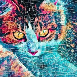 Cat Mosaic Orange Eyes by Don Northup