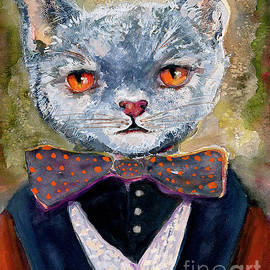 Cat Portrait Einstein by Ginette Callaway