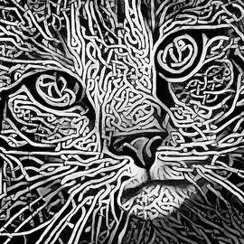 Celtic Knot Tabby Cat - Black and White Version
