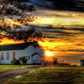Chapel At Fort Hancock Sandy Hook Nj In Sunset by Geraldine Scull