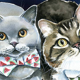 Charlie and Teddy Cat Painting by Dora Hathazi Mendes