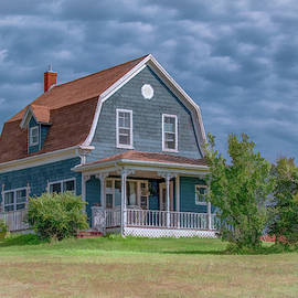 Charming Blue House on the Hill by Marcy Wielfaert