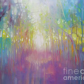 Chasing a Dream abstract oil painting on canvas in vibrant rainbow colours of a path through a wood  by Gill Bustamante