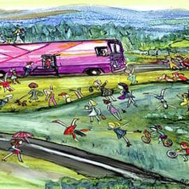 Chasing the pink bus Wide by Patty Donoghue
