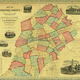 Chester County Pennsylvania Map 1856 by Richard Reeve