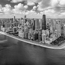 Chicago Gold Coast Aerial Panoramic Bw by Adam Romanowicz