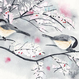 Chickadees in Winter with Red Berries by Conni Schaftenaar