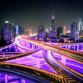 China, Shanghai, Road Intersection At by Martin Puddy