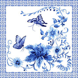 Chinoiserie Blue And White Pagoda With Stylized Flowers Butterflies And Chinese Chippendale Border by Audrey Jeanne Roberts
