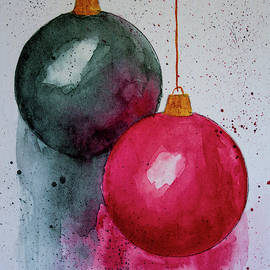 Christmas Balls with Blue Background by Denise Harty