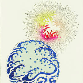 Chrysanthemum and  Wave - Japanese traditional pattern design