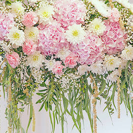 Chrysanthemum Dahlias Hydrangea Wedding Decor by Jenny Rainbow