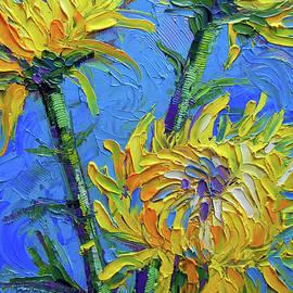 Chrysanthemums on Blue Palette Knife Impasto Oil Painting Mona Edulesco by Mona Edulesco