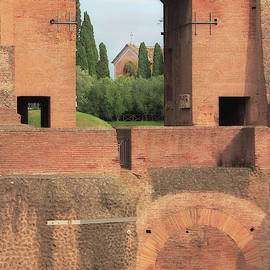Church Of San Bonaventura Palatino Viewed Through Archway Of Domitians Palace In Rome Italy by Angela Rath