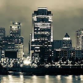 Cincinnati Panoramic Night Skyline - Sepia Edition by Gregory Ballos